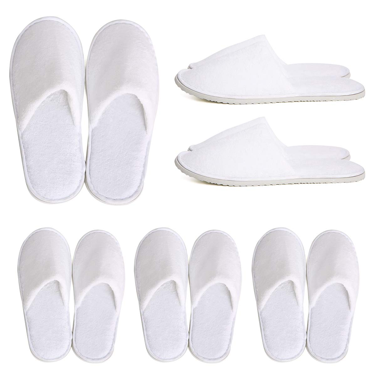 DAWOOWOO SPA Guest Slippers Set of 6 Housewarming Slippers Closed Coral Velvet Guest Room Hotel Swimming Pool Bathroom Bedroom Disposable