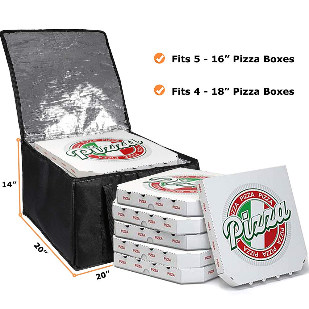 cherrboll Insulated Pizza Delivery Bag, 20 by 20 by 14 -Inch, Commercial Grade Food Delivery Bag, Moisture Free by cherrboll (Image #3)