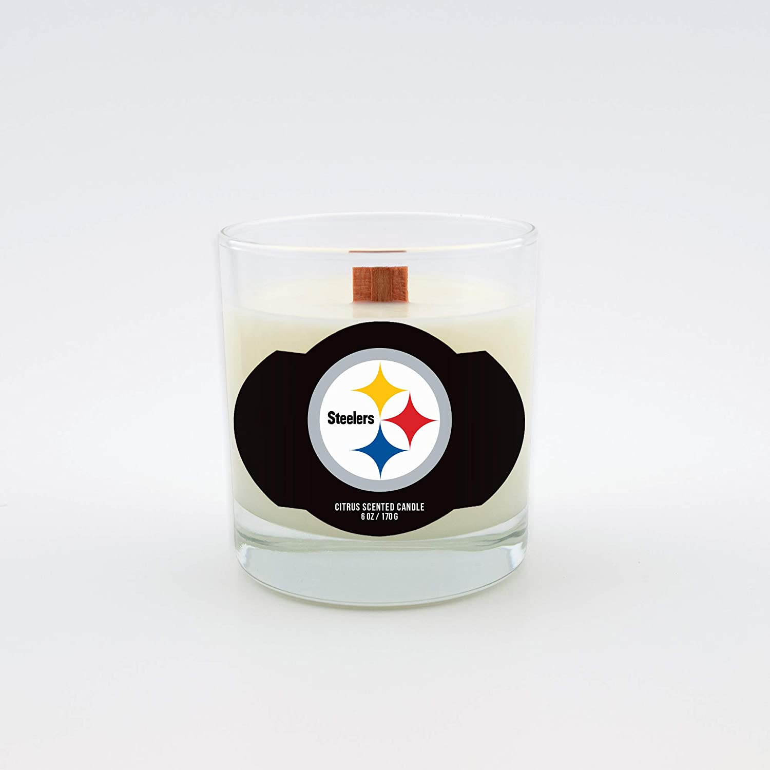 Wood Wick Worthy Promotional NFL Pittsburgh Steelers Citrus Scented 6 oz Soy Wax Candle