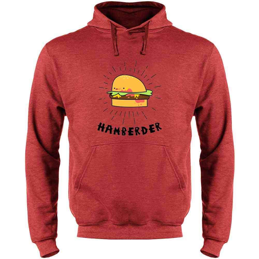 Pop Threads Hamberder Cartoon Hamburger Funny Mens Fleece Hoodie Sweatshirt