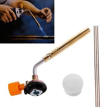 A0127 - Quemador de gas butano para soldar a mano, camping, soldadura, herramienta + barras + líquido: Amazon.es: Bricolaje y herramientas