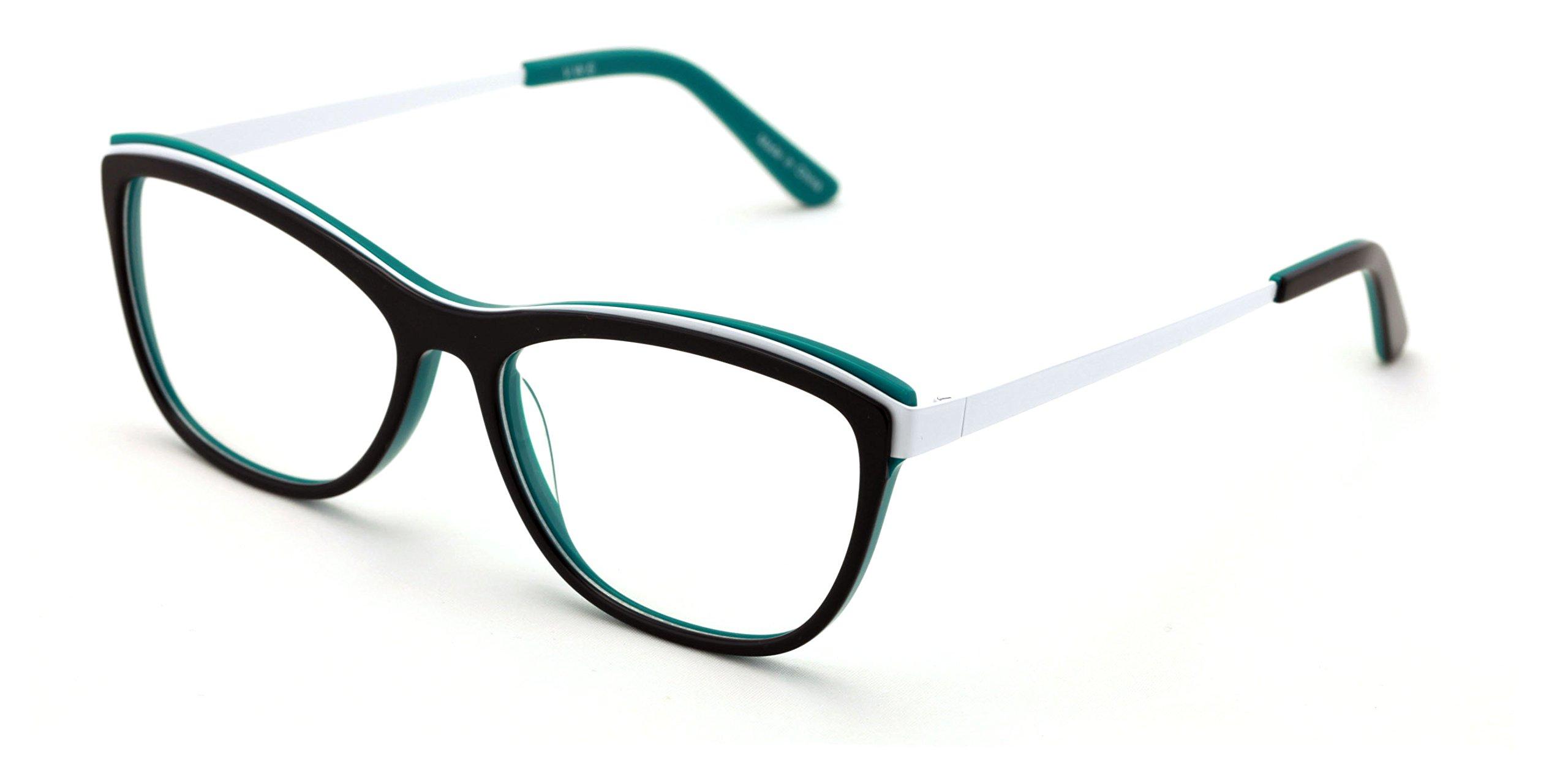 Women 2 Tone Cateye Fashion Non-prescription Acetate Glasses Frame /w Metal Temple - Clear Lens Eyeglasses Rx'able (Teal)