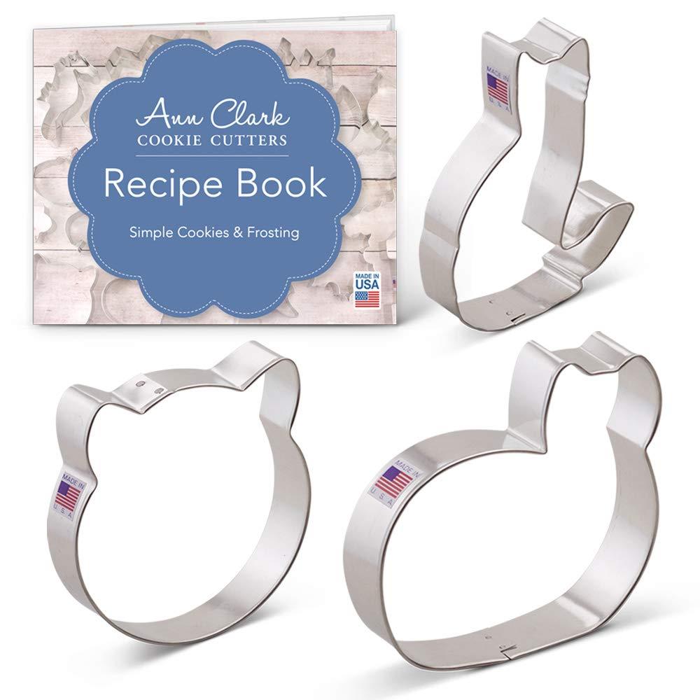 5e281f70574ea Amazon.com  Kitty Cat Cookie Cutter Set with Recipe Book - 3 piece - Cat  Face