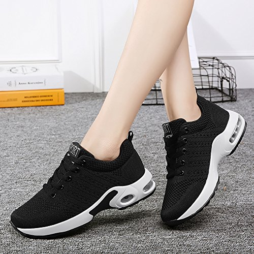 Sneakers Town 66 Running Shoes Men's Women's Black Flyknit Couple Air Cushion No vq5Unwvd