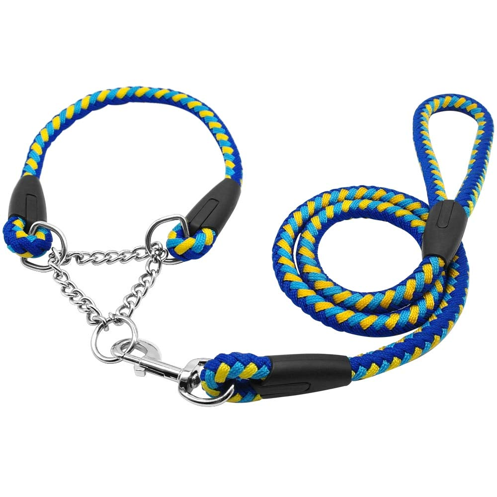 D-4PET Nylon Leash - 2016 Martingale Braided Large Dog Collar with Leash Pet Traction Rope Collar Set for Big Dog Agility Obedience Behavior Training by D-4PET (Image #3)