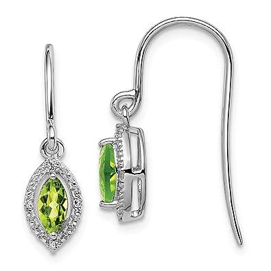 e51e8fd81c42e Amazon.com: 925 Sterling Silver Diamond Green Peridot Marquise Drop ...