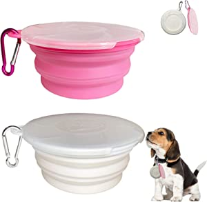 Collapsible Dog Bowl, 2 Pack Travel Pet Bowls with Lids Cat Food Dog Water Bowls, Portable Collapsable Feeding Bowls Pink Cup Dish for Walking Camping Kennels (450ML,15OZ)