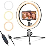 """LED Ring Light 10"""" with Tripod Stand & Phone Holder for Live Streaming & YouTube Video, Dimmable Desk Makeup Ring Light"""