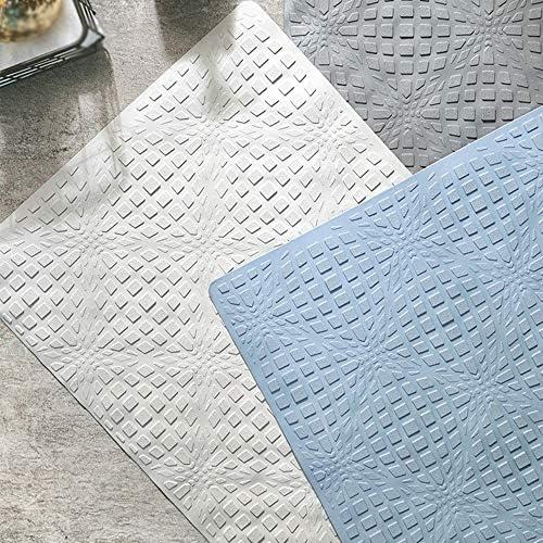GHHQQZ バスルームのカーペット ノンスリップ 吸盤 ゴム トイレ キッチン ホテル フットパッド バスルームラグ、 3色、厚さ0.5 cm、 40x70cm、 55x55cm (Color : Blue, Size : 55x55cm)