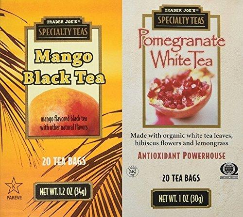 Trader Joes Mango Black & Pomegranate White Tea 4 Pack Variety Bundle (White Ginger Pear)