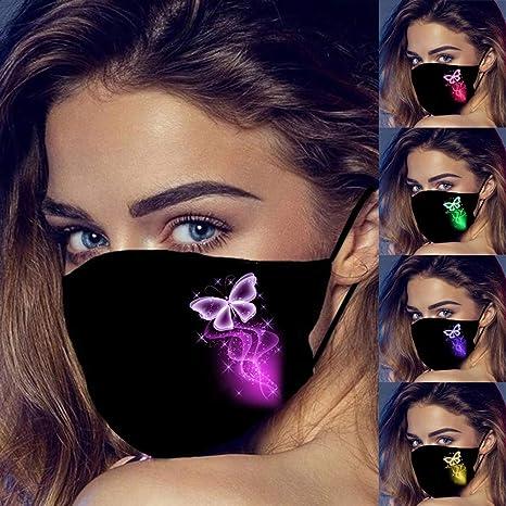 H HILABEE 5 Piezas m/_ascarillas Reutilizables Negras Lavables antivaho Estampado de Mariposas 2 Capas Protecci/ón para Adultos con Lazo de Oreja Ajustable