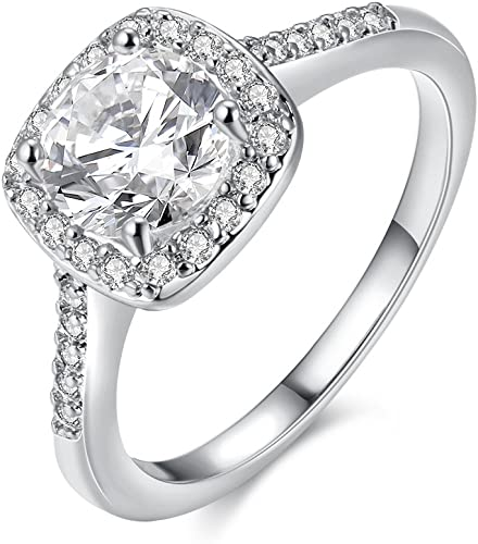 Fashion Ring For Womens White Gold Plated Alloy CZ Simulated Diamond