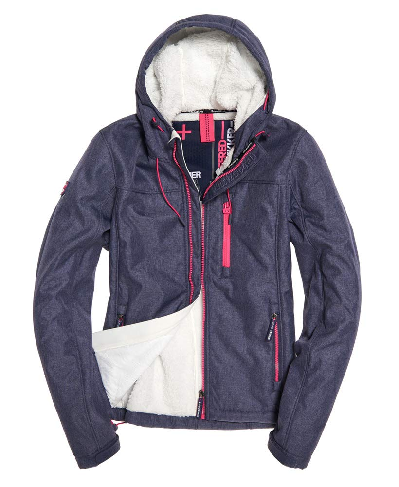 Superdry Womens Hooded Winter SD-Windtrekker Jacket True Indigo Marl 12 by Superdry