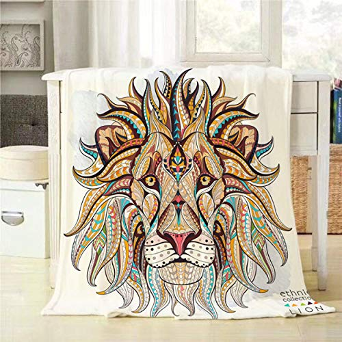 Mugod Lion Throw Blanket African Ethnic Ornament Head of The Lion on The Grunge Background Decorative Soft Warm Cozy Flannel Plush Throws Blankets for Bedding Sofa Couch 40 X 50 Inch