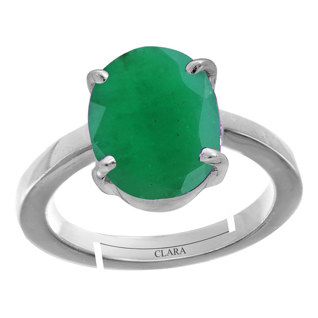 4.8cts or 5.25ratti original stone Stunning Sterling Silver Astrological Ring for Men and Women CLARA Certified Emerald Panna