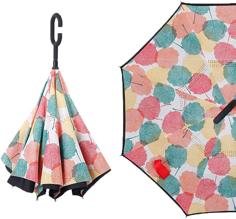 KIAYI Double Layer Inverted Umbrella,Windproof Folding Reverse Umbrella Inside Out Umbrella with C-Shaped Handle,Dandelion