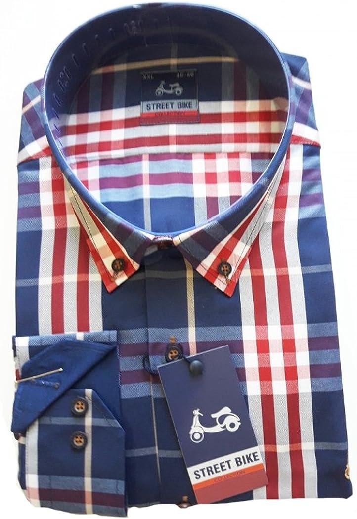 Streetbike Camisa de cuadros logo bordado la vespa, tonos azules y rojos (M): Amazon.es: Ropa y accesorios