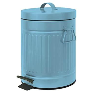 Home Expressions Retro Step Bin Trash Can 1.3 Gallon 5 Liter (Teal)