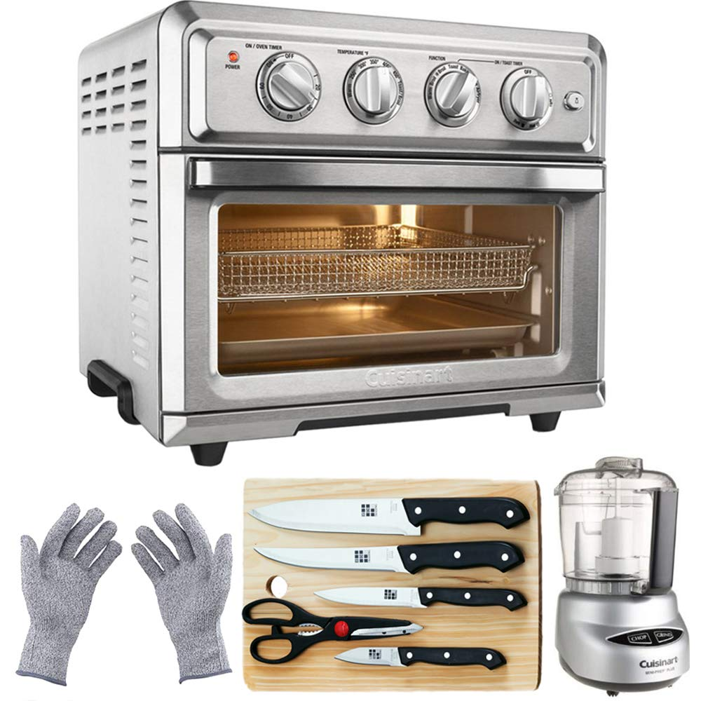 Cuisinart TOA-60 Convection Toaster Oven Air Fryer w Light Silver with Ultimate Kitchen Bundle Includes Mini Food Processor, 5-Piece Knife Set, Ctting Board Protective Safety Gloves