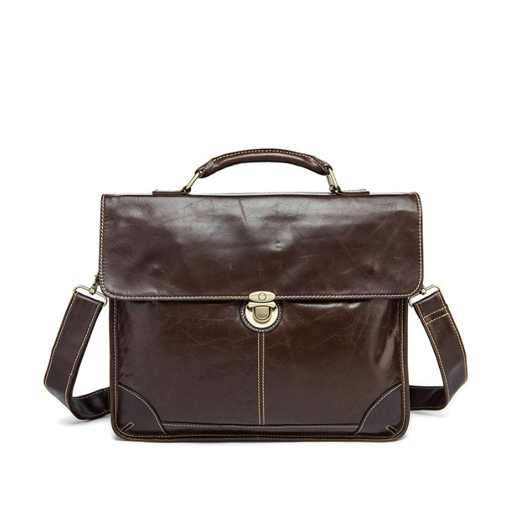 Color : 1, Size : S DONGLU Mens Briefcase Retro Leather Business Office Cross Section Handbag