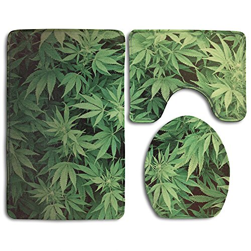 3 Piece Bath Mat Set Real Marijuana Weed Leaf Non Slip