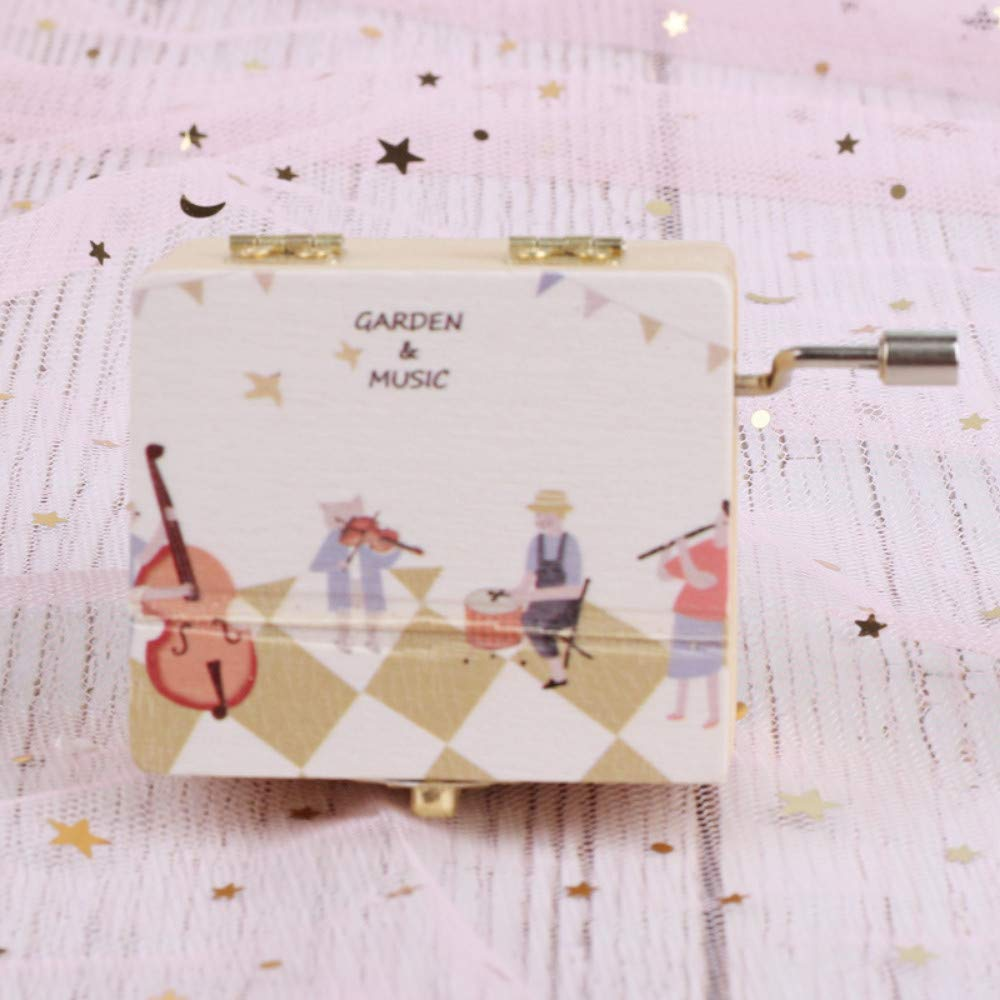 B JIAHUADE Illustrator Story Sound Wooden Gift Crafts Wooden Box Hand Shake Music Box Creative Gift Ornaments,B