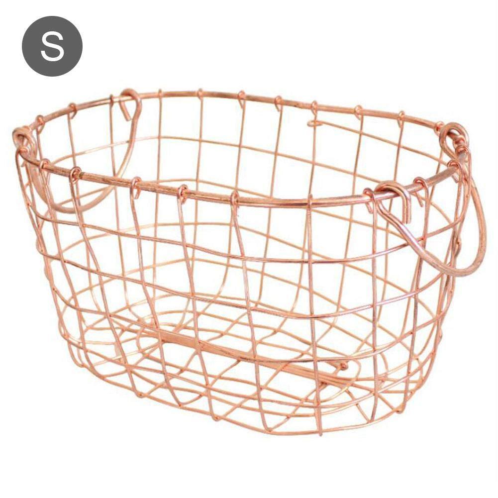Hifuture Metall Aufbewahrungskorb Obstkorb, Aufbewahrungsbox für Kleidung Hollow-out Eisen Fruchtkorb, Nordischer Stil Metall Drahtkorb mit Griff (L)