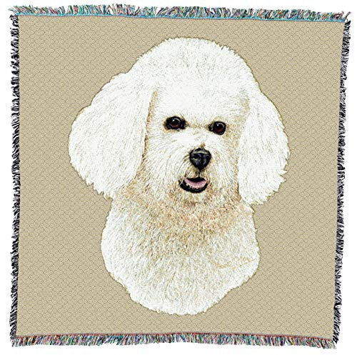 Pure Country Weavers - Bichon Frise Woven Throw Blanket with Fringe Cotton. USA Size 54x54