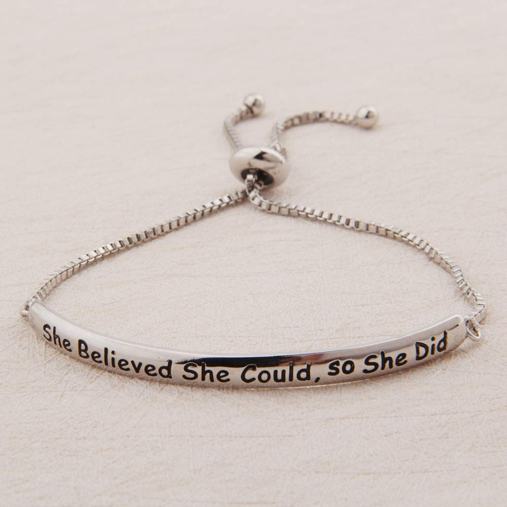 ENSIANTH She Believed She Could So She Did Bracelet Inspirational Jewelry Adjustable Bracelet