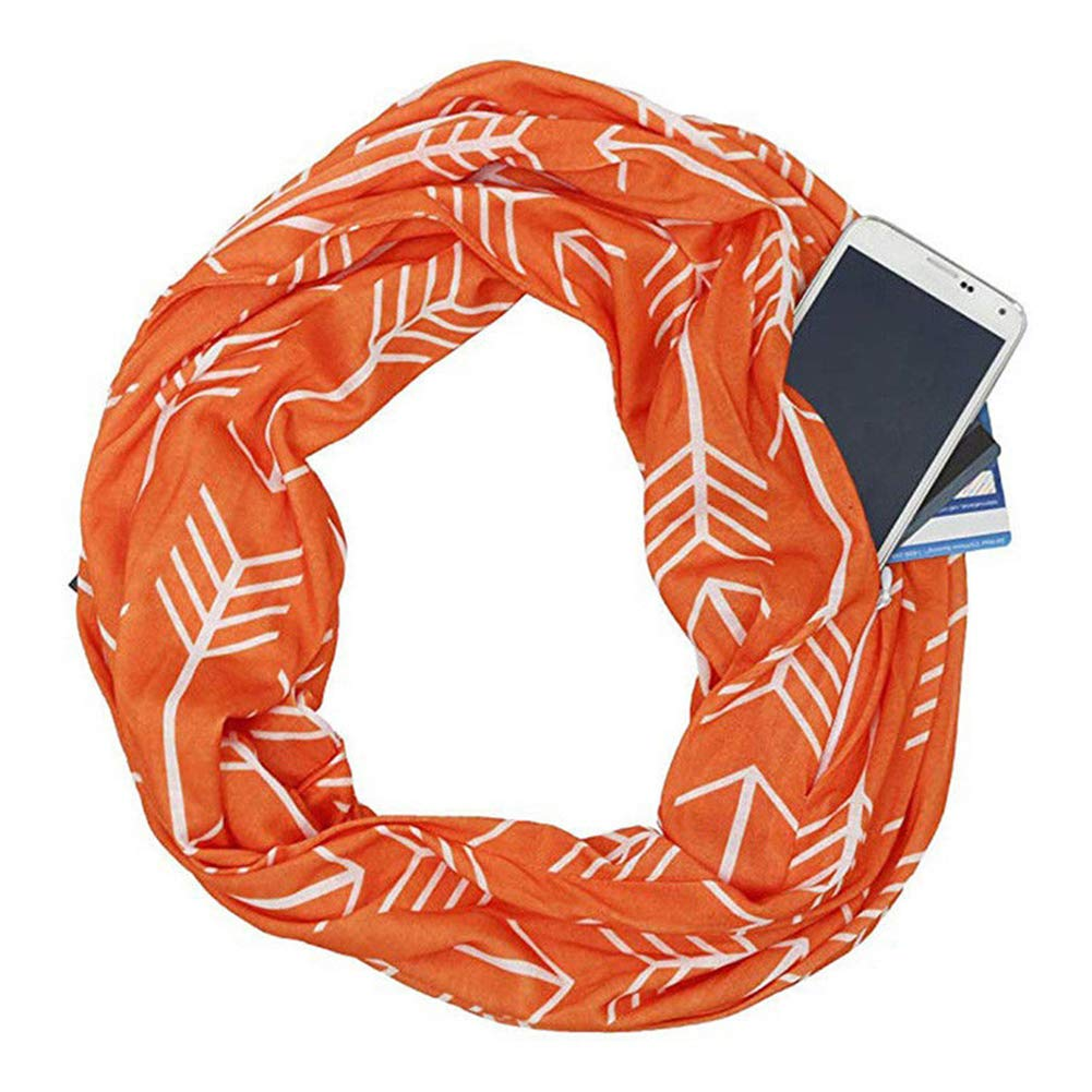 Crewell Scarves for Women,Portable Women Scarf with Pocket Infinity Scarf All Match Travel Journey Scaves New
