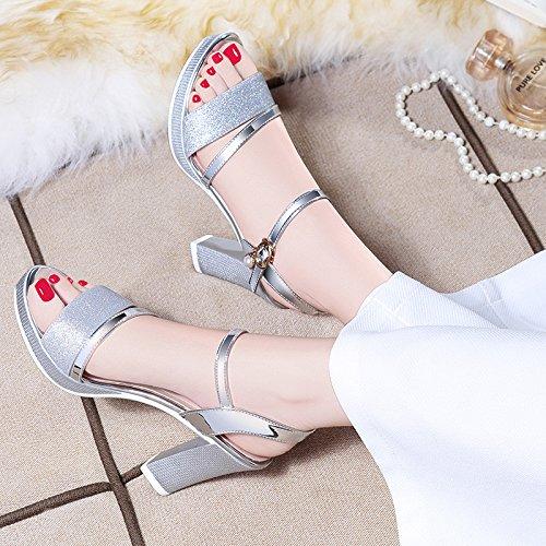 Color de tacón EU36 de con sandalias oro de Tamaño Plata plata verano UK4 CN36 La Oro Zapatos áspera mujer medio wt4tq7