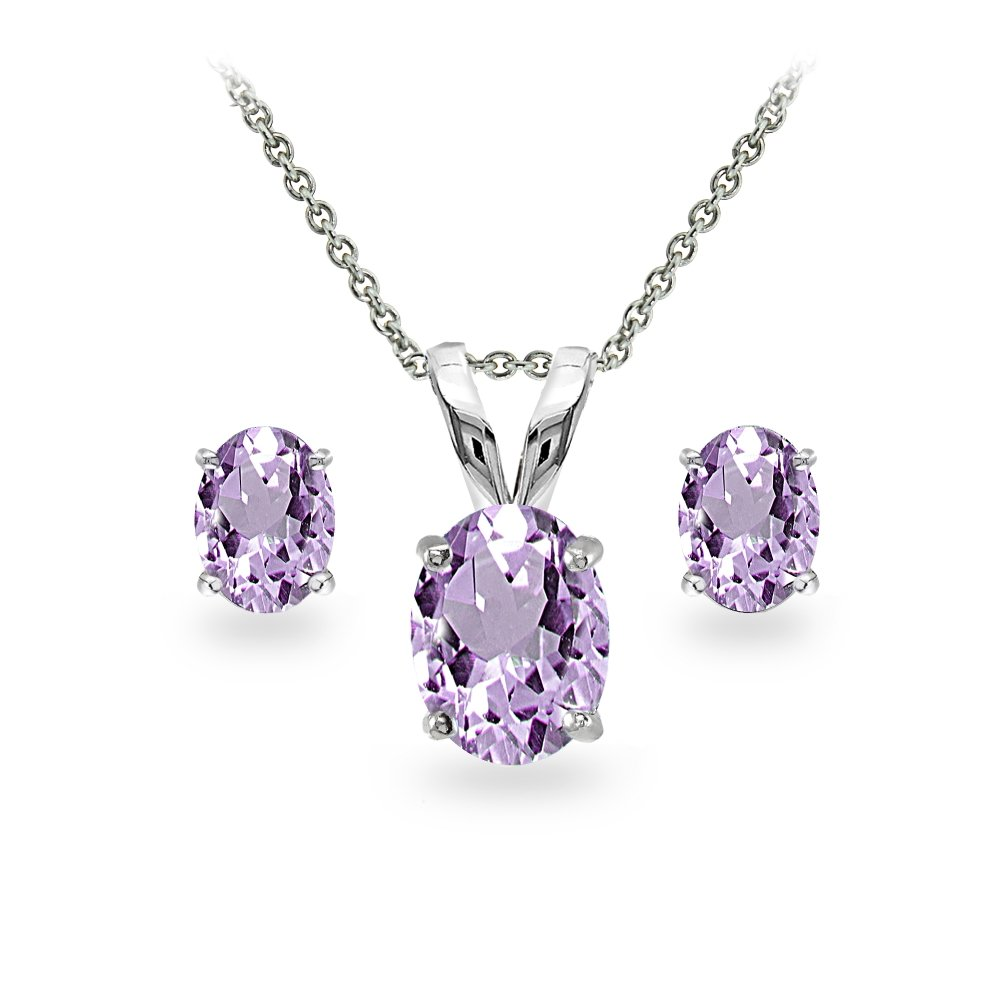 GemStar USA Sterling Silver Amethyst Oval-cut Solitaire Necklace and Stud Earrings Set