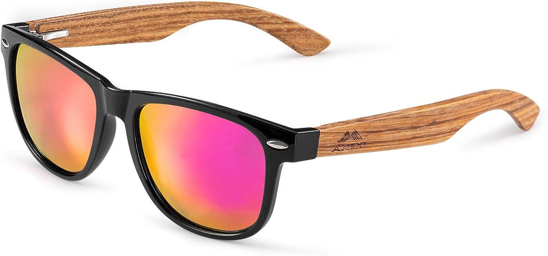 Amexi Gafas de Sol Polarizadas Hombre y Mujere, UV400 Protection, Gafas Ligeras con Patillas de Madera (Rosa lila) …