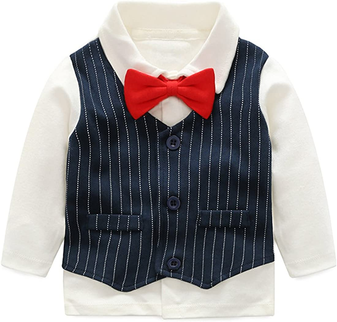 Fairy Baby Toddler Boys Wedding Outfits Gentleman Tuxedo Formal Suit Pants with Bowtie 3-24 Months