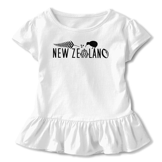 Qxjka New Zealand Kiwi Fern Girls Short Sleeve Ruffled Shirt Birthday Gift 2 6T White