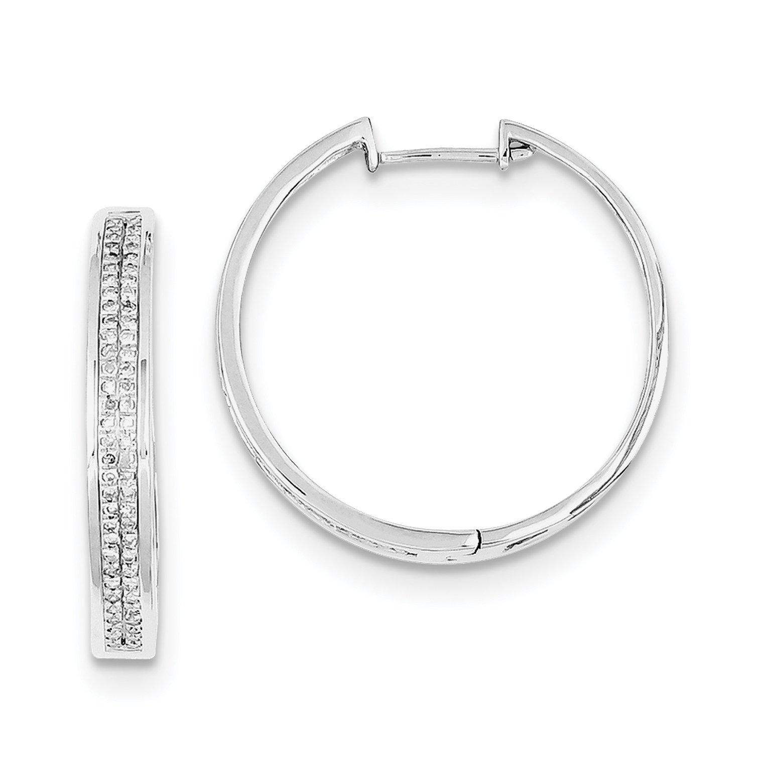 ICE CARATS 925 Sterling Silver Diamond Round Hinged Hoop Earrings Ear Hoops Set Fine Jewelry Gift Set For Women Heart