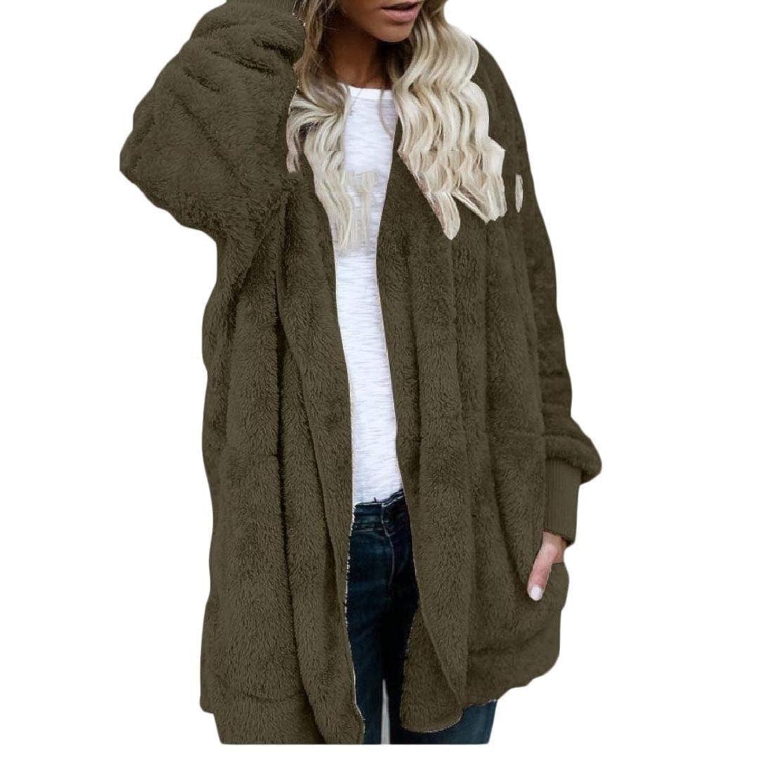 YUNY Womens Faux Fur Fleece Reversible Cardigans Fashion Outwear Coat Army Green S