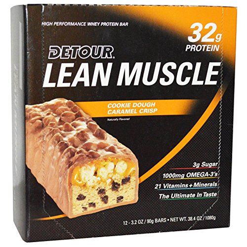 Detour Lean Muscle Cookie Dough Caramel Crisp 32g protein, Pack of 12