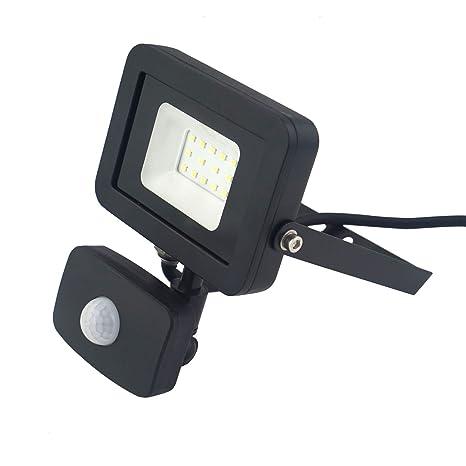 Foco de 10 W, sensor de movimiento, delgado, muy potente, PIR,