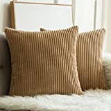 MIULEE Pack of 2, Corduroy Soft Soild Decorative Square Throw Pillow Covers Set Cushion Cases Pillowcases for Sofa Bedroom Car 20 x 20 Inch 50 x 50 cm