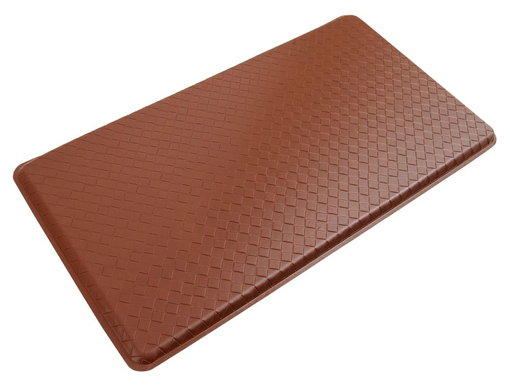 "GelPro Classic Anti-Fatigue Kitchen Comfort Chef Floor Mat, 20x36"", Basketweave Chestnut Stain Resistant Surface with 1/2"" Gel Core for Health and Wellness"