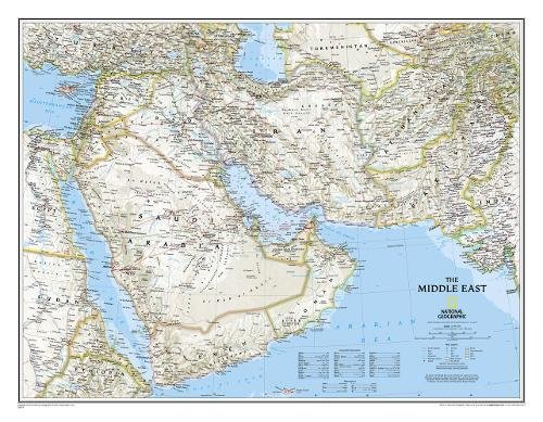Afghanistan, Pakistan, and the Middle East Wall Map