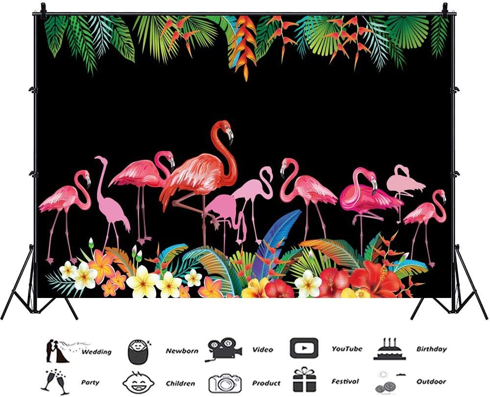 10x6.5ft Pink Flamingo Backdrop Tropical Palm Leaves Black Vinyl Photography Backgroud Summer Fiesta Party Banner Birthday Decoration Baby Shower Cake Smash Dessert Table Photo Backdrop