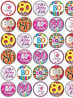 30 Assorted 80th Birthday Female Premium Rice Paper Cake Toppers 35cms Pink 35