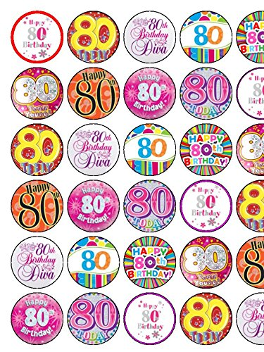Image Unavailable Not Available For Colour 30 Assorted 80th Birthday Female Premium Rice Paper Cake Toppers