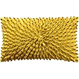 KingRose 3D Flower Accent Throw Pillow Case Super Soft Decorative Cushion Cover for Bed Living Room Sofa 12 x 20 Inches Yellow