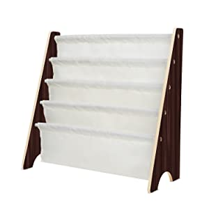 Homfa Kids Book Rack Storage Sling Bookshelf Toy Display for Children, Espresso/White
