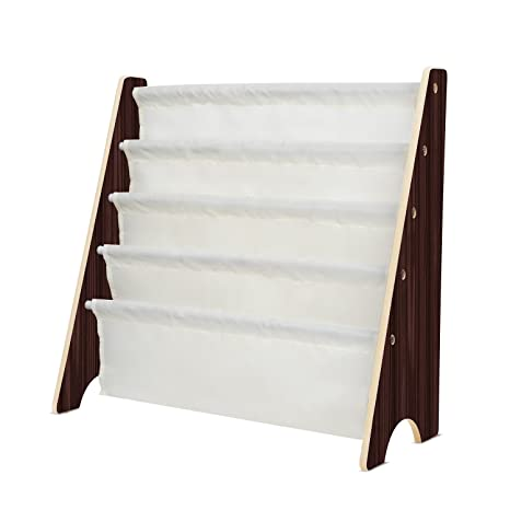 HOMFA Kids Book Rack Storage Sling Bookshelf Toy Display For Children Espresso White