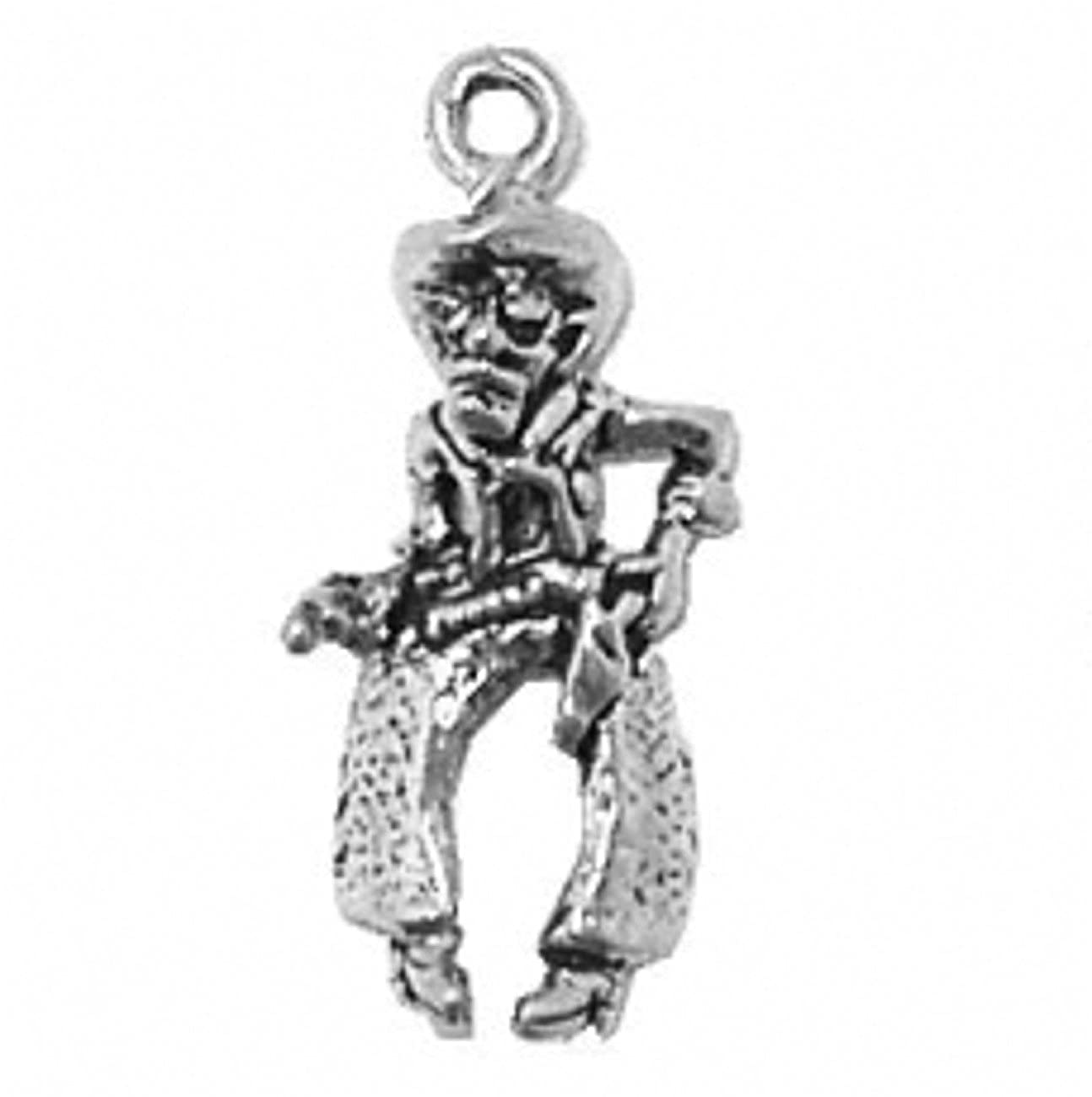Sterling Silver Girls .8mm Box Chain 3D Large Cowboy Gunfighter Pendant Necklace