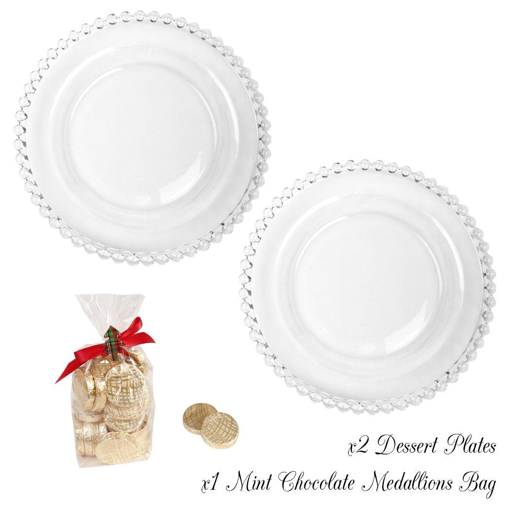 Set de dos Bella Perle platos de postre - Set de regalo con una gran 175 g de chocolate con menta medallón favor paquete - Alta calidad lujo cristal con ...